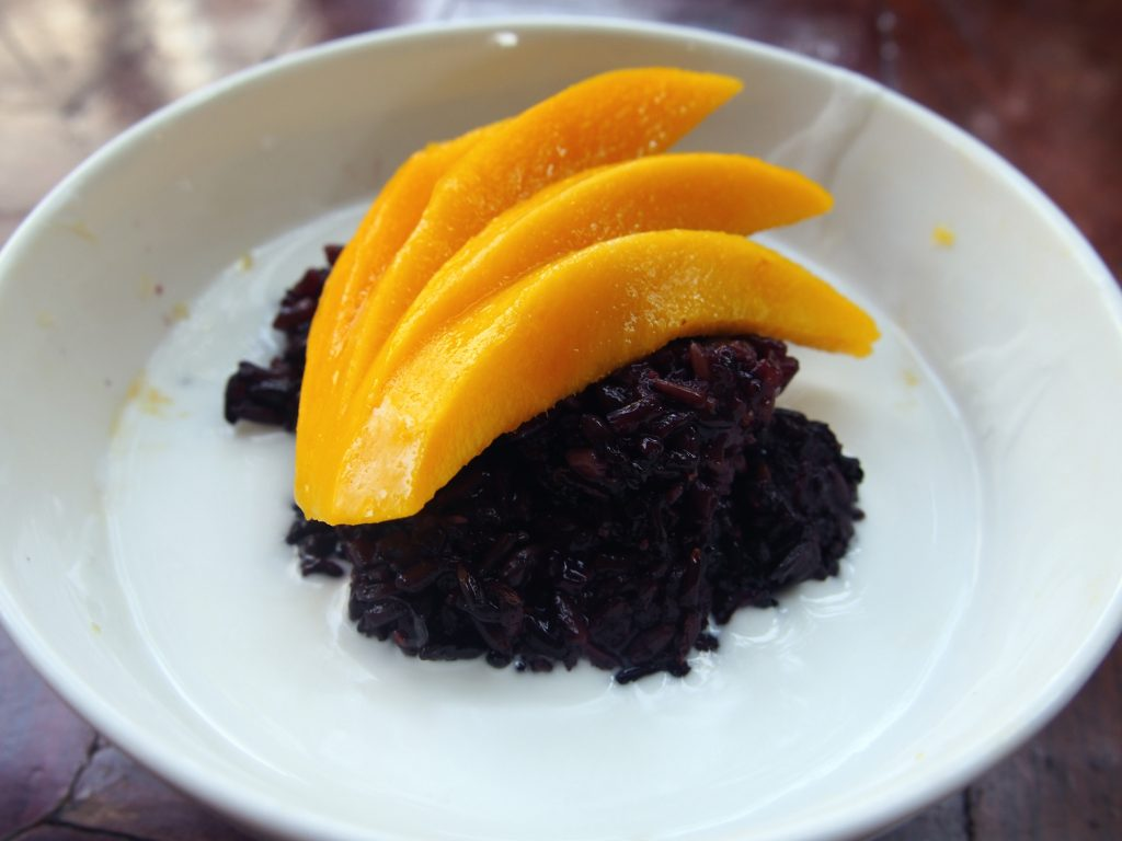 Black Sticky Rice with Mango and coconut Milk