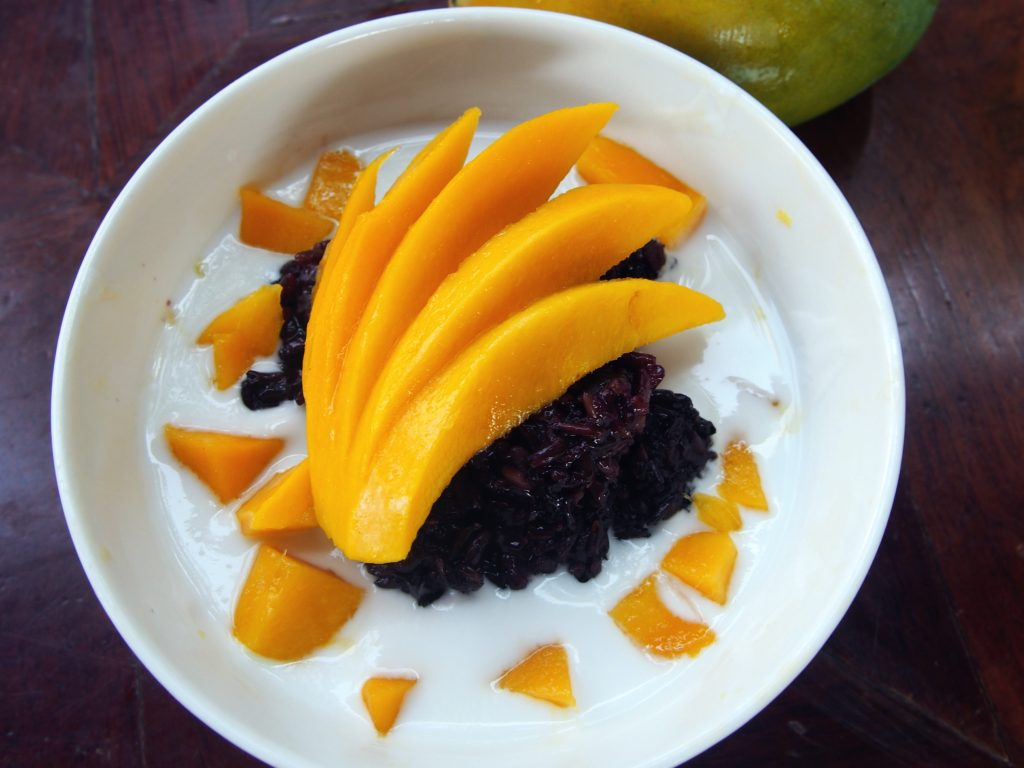 Black Sticky Rice with Coconut Milk and Mango