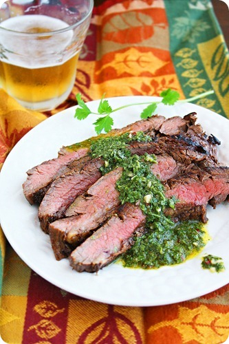Grilled Marinated Flank Steak with Chimichurri Sauce[3]