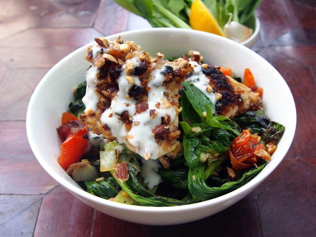 Almond Coated Pan Fried Chicken and Vegetables