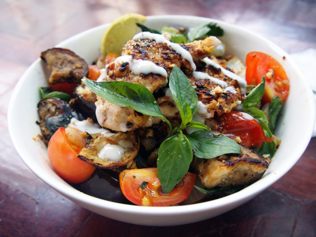 Pan Roasted Almond Chicken with Vegetables