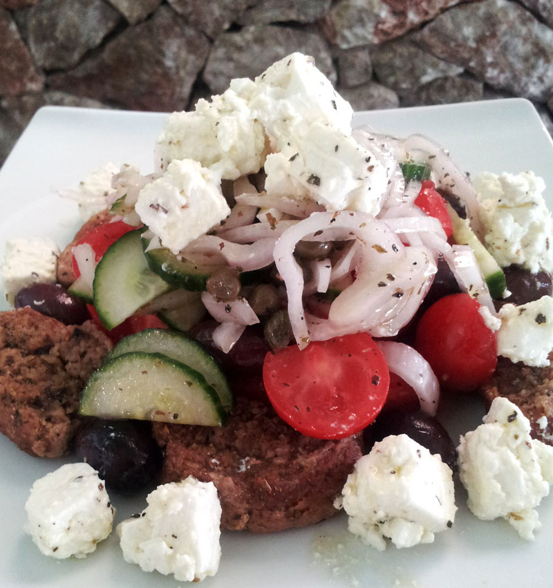 Feta Cheese (dairy) and Rusks (dried bread- grains), together they are a complete protein