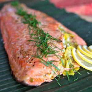 stuffed salmon with leeks